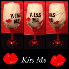 Hand Painted Wine Glasses for Valentines Day