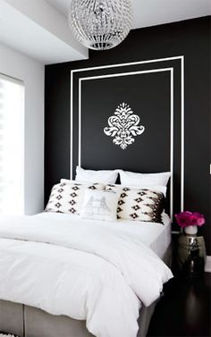I would love to do this paint design in place of a headboard.  the light is awesome.