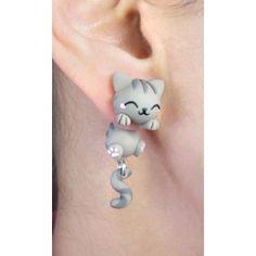Grey Cat Clinging Ears