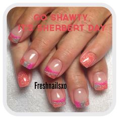 Sherbert nails | gel nails | pink | coral | silver | glitter