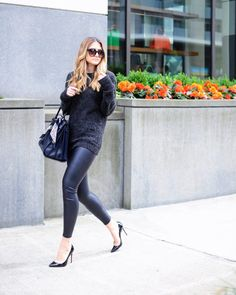www.streetstylecity.blogspot.com  Fashion inspired by the people in the street ootd look outfit sexy high heels legs woman girl leather leggings pants