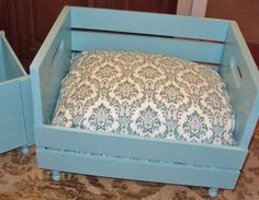 Upcycled PET BED Combo bed and toy box Wood crate Gift 2 for 1 Price Cottage Chic Eco Friendly.