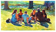 """Drinks on the green by Graham Berry Watercolor ~ 11"""" x 20"""""""