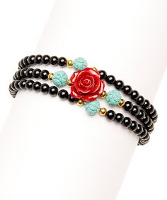 Loving this Red Rose & Black Onyx Beaded Wrap Bracelet on #zulily! #zulilyfinds
