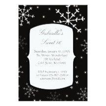 Snowflake Falling Sweet 16 Birthday Invitation