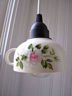 What a really beautiful idea.I love this teacup pendant lamp. Found it on Etsy for $33 but  wondering how easy it would be to make it myself.