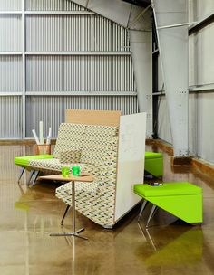 Why settle for a sagging couch when you can have crisp, comfortable modern seating? Acoustic furniture works double-time to revitalize the office space and cut down on noise.