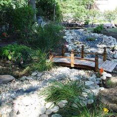 Japanese inspired dry stream bed