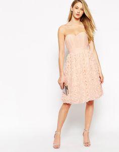 Image 4 ofLittle Mistress Bandeau Prom Dress With 3D Floral Applique Skirt