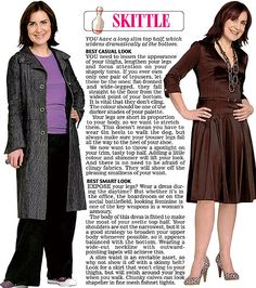 Trinny and Susannah show off the clothes to suit the Skittle women's body type.