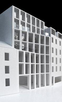 116 ETB studio residentieel appartementen rij vorm volumeschakeling stapeling plooi raster structuur maquette terrassen stedenbouw inpassing