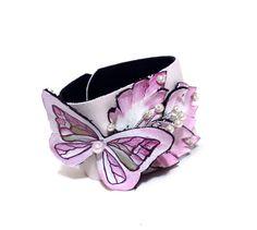 Leather bracelet Pink leather cuff bracelet by julishland on Etsy, $22.00
