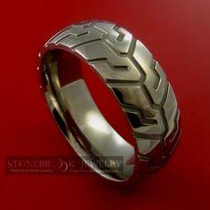 Motorcycle Tire Tread ring - great wedding band for cool guy! Trust Me I'm A Biker Please Like Page on Facebook: https://www.facebook.com/pg/trustmeiamabiker Follow On pinterest: https://www.pinterest.com/trustmeimabiker/