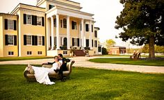 Oatlands Historic House & Gardens- An old Southern-style Virginia wedding venue; greek revival mansion; old plantation house; Photo by Ever After Visuals.