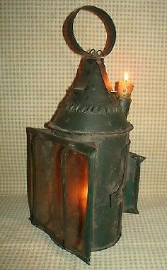 MOST UNUSUAL EARLY ANTIQUE CANDLE LANTERN W/2 WINDOWS & OUTSIDE CANDLE NO RESV.    eBay