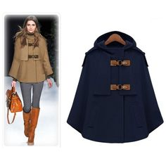 Camel Women Cloak Outerwear And Coats 2017 Autumn Winter Fashion Hooded Cape Coat Jackets  Female Poncho Navy Plus Size S XL-in Wool & Blends from Women's Clothing & Accessories on Aliexpress.com | Alibaba Group