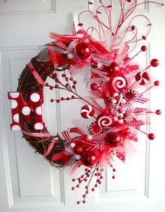 Peppermint Sticks & Lollipops inital wreath
