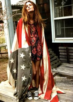 flag...pretty... but may be tacky to drape yourself in the flag.