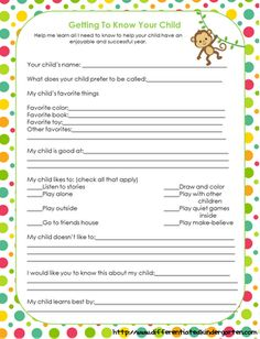 Getting to know your child form plus tons of ideas for in a special ed/regular ed classroom