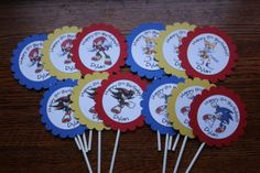 Sonic The Hedgehog Inspired Party - Personalized - Cupcake Toppers - Thank You Tags - Red - Blue - Yellow - Party Decorations