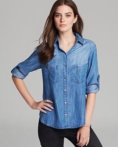 $150, Shirt Denim Seamed Pocket by Bella Dahl. Sold by Bloomingdale's. Click for more info: http://lookastic.com/women/shop_items/67238/redirect