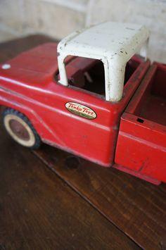 Vintage Tonka Truck Red Mid Century 1950s Sportsman Pickup Nursery Decor Boys Room
