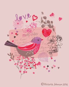 valentine, bird, greeting card design, surface pattern, illustration victoriajohnsondesign.com