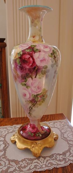 American Belleek Large Porcelain Hand Painted  Vase Gorgeous ~ Roses~  Ca. 19th Century