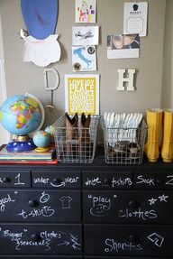 shared boys room...chalkboard painted dresser that shows where everything goes!