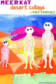 "Meerkats in the Desert- Collage by The Art & Craft Giraffe. Picturebook Art & Craft inspired by the ""Hello Meerkat!"" Interactive Picturebook App for 1-5 year olds- http://www.tinytwigastudios.com.au/hello-meerkat!.html"