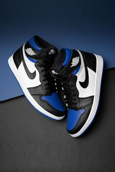 "Jordan Brand's ""Royal"" hue has been incorporated into innumerable Jordan models ever since The latest model to do so is the Air Jordan 1 ""Royal Toe,"" which many would agree is one of the best royal-accented Jordans yet. Jordan Shoes Girls, Air Jordan Shoes, Girls Shoes, Sneakers Nike Jordan, Jordan Outfits, Retro Jordan Shoes, Blue Sneakers, Retro Shoes, Shoes Women"