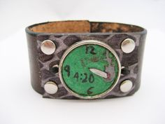 420 Bracelet Hand Carved Leather Bracelet 420 by Treeleafleather