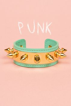 This Aurelie Bidermann turquoise and gold spike cuff is probably the hottest thing I've seen all day. Aurelie Biderman, Pastel Punk, Spike Bracelet, Stud Muffin, Teal And Gold, Arm Party, Soft Grunge, Pastel Grunge, Mode Style