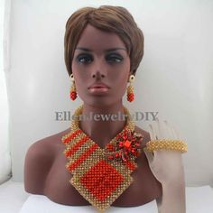 New Indian Big African Costume Jewelry Sets Handmade Mix Crystal Beads Set Necklace Nigerian Bridal Jewelry Free Shipping W13338 #Affiliate