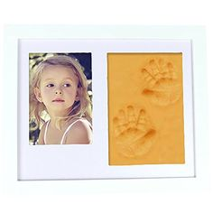 Baby Clay Handprint and Footprint Frame Keepsake Kit Non Toxic and Safe Clay Solid Wood Product with Acrylic Glass Air Drying Baby shower Gift Orange Clay *** More info could be found at the image url. (This is an affiliate link) #HomeDecorBabyKeepsakeProducts