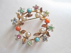 "Vintage Pin Brooch So Sweet Tiny Enameled Flowers Rhinestones Gold Plated 1 1/8"" #UnsignedBeauty"