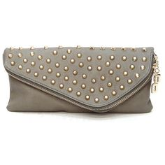 Colin Studded Clutch in Grey ($40) ❤ liked on Polyvore featuring bags, handbags, clutches, bolsas, bags/purses, studded purse, studded handbags, gray purse, grey clutches and grey handbags