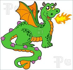 Illustration of Cute dragon with long tail - vector illustration.
