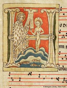 Christ: Baptism within initial H   Antiphonary   France or Germany   ca. 1200   The Morgan Library & Museum
