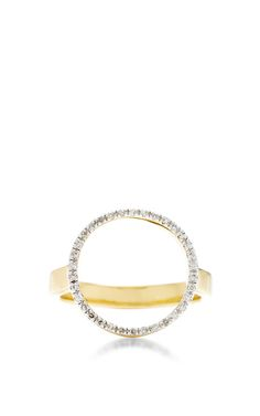 Gold Plated Diamond Diva Circle Open Ring by Monica Vinader for Preorder on Moda Operandi