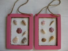 Set of 2 Natural Seashell Pink Frame Wall Hangings by NovelShell, $17.00