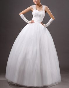 Beige ball gown off-the-shoulder floor-length crystal yarn wedding dress US$78.50