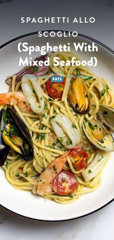 Mixed Seafood Recipe, Seafood Pasta Recipes, Seafood Dishes, Pasta Dishes, Pasta With Seafood, Shellfish Recipes, How To Cook Shrimp, How To Cook Pasta, Serious Eats