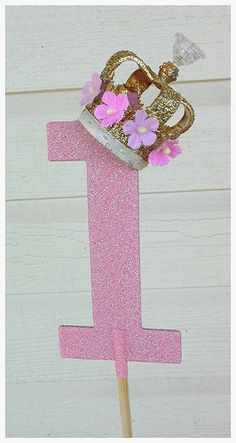 Gold Royal Crown Number One Cake Topper for Birthday Party Birthday Decoration Smash cake