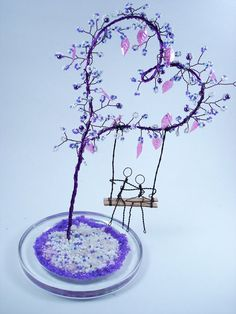 Purple Heart Wire Tree Wire Beaded Valentine's by wirefore Wire Crafts, Bead Crafts, Jewelry Crafts, Diy And Crafts, Wire Tree Sculpture, Wire Sculptures, Abstract Sculpture, Bronze Sculpture, Sculpture Art