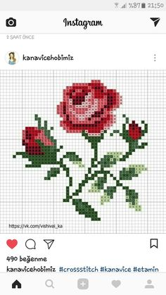 Rose and buds. Cross Stitch Cards, Simple Cross Stitch, Beaded Cross Stitch, Cross Stitch Flowers, Cross Stitching, Cross Stitch Embroidery, Cross Stitch Designs, Cross Stitch Patterns, Granny Square Crochet Pattern