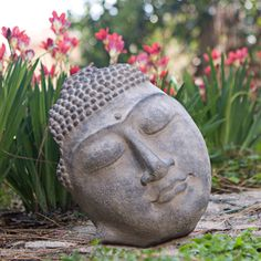 Stone Buddha Face Statue (Indonesia) | Overstock™ Shopping - Great Deals on Garden Accents