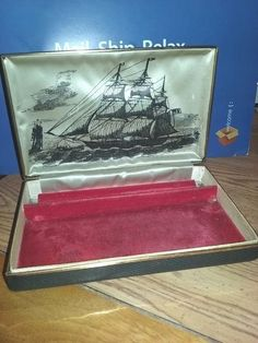 Vintage Farrington Genuine Texol Jewelry Box Black Gold Trim Clipper Ship Sail #Farrington