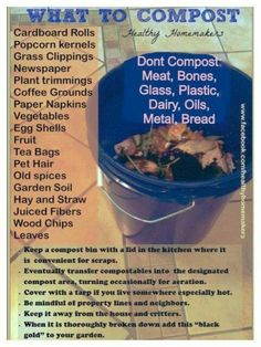 Simple compost list. Use a 5-gallon bucket with a lid instead of buying an expensive kitchen bin - genius!