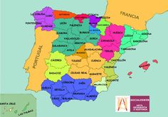 Provinces of Spain Provinces Of Spain, Map Of Spain, Countries Europe, Geography Map, Spanish Teaching Resources, Classroom Resources, Subway Map, Spanish Classroom, How To Speak Spanish